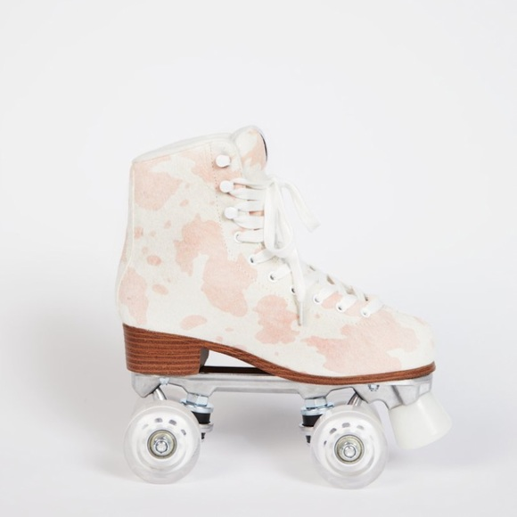 Intentionally Blank Pink Cow Roller Skates